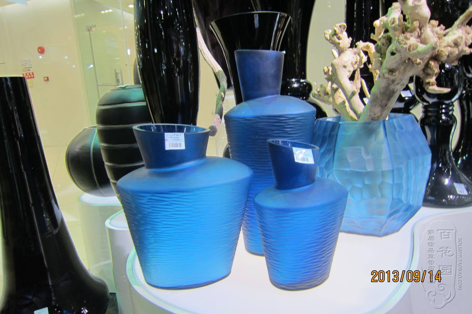 水晶玻璃工艺品创意花瓶家居装饰高贵墨水蓝欧式古典现代风花器-淘宝网