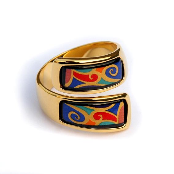 曲形 珐琅彩戒指,螺旋纹戒指, 塔希堤(Tahiti)—波浪纹首饰-淘宝网