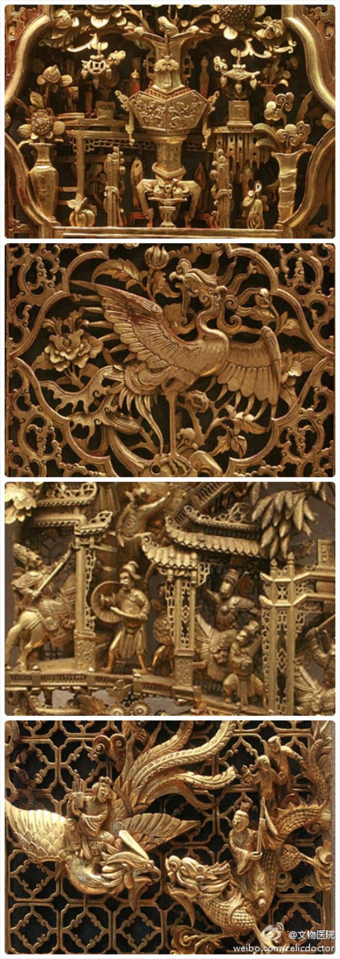 #潮州金漆木雕#以木雕为基础,髹之以金,自明代开始逐渐形成定式,至万历年间始向镂通发展,清代对繁复多层镂通和金碧辉煌的情有独钟,将其推至鼎盛。凡是做到极致,没有不赞的。