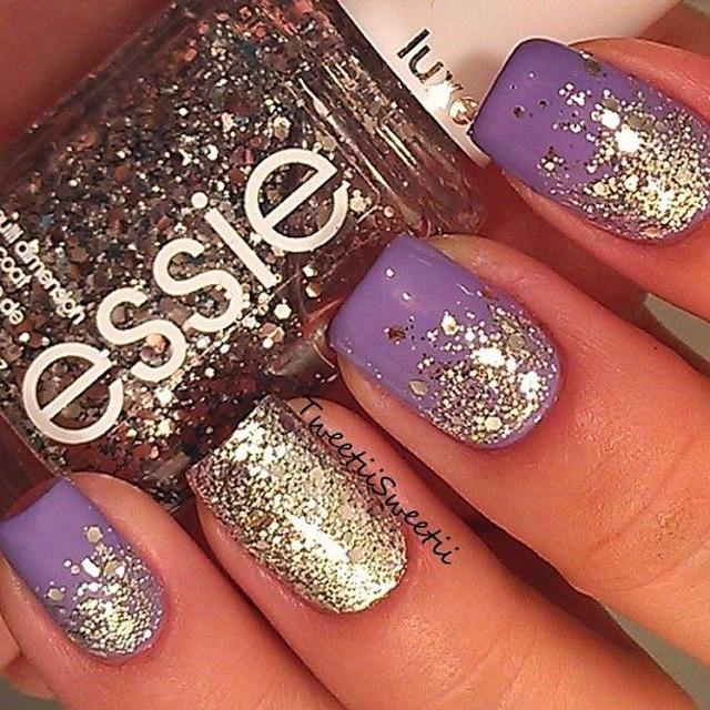lavendar_and_gold_nail_design metallic nail designs