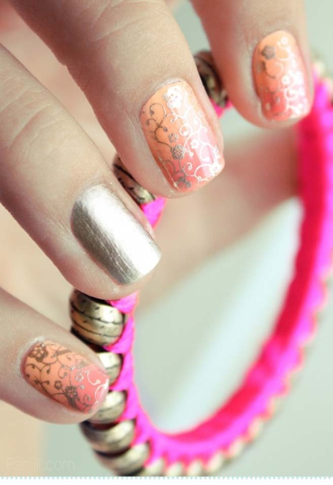 peach_and_gold_nail_art
