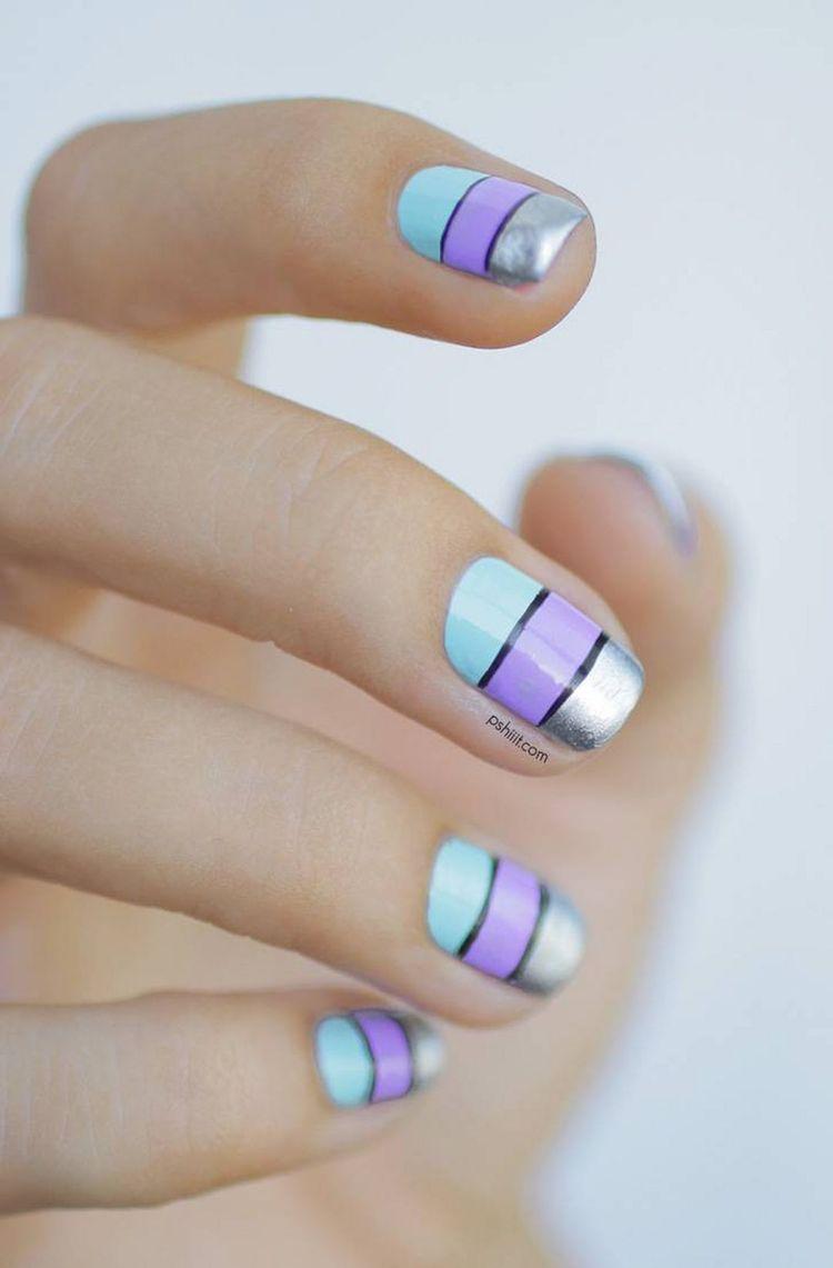 lavendar_black_silver_nail_art
