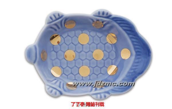 瑠璃釉亀形皿