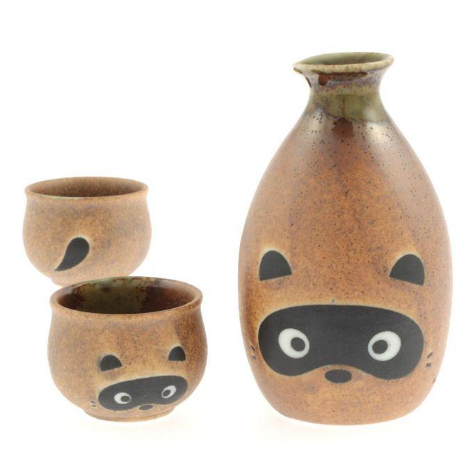 日本狸猫陶瓷清酒套装