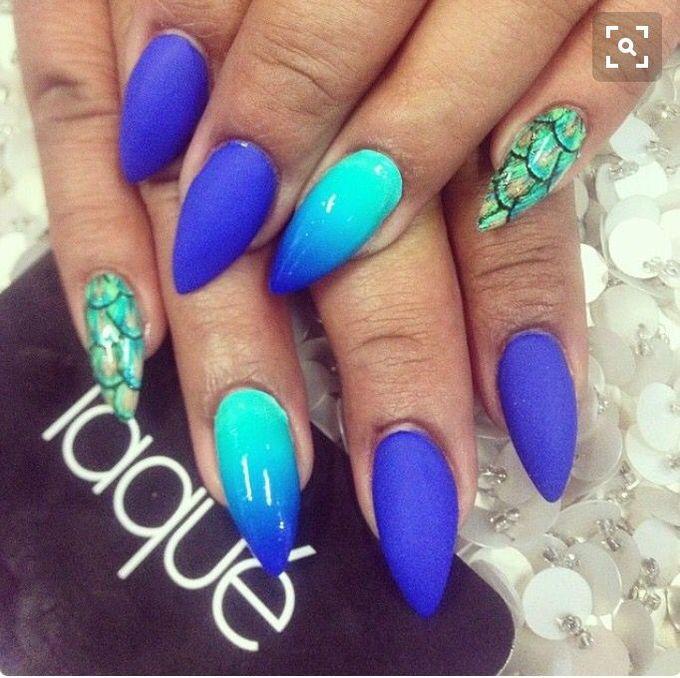 blue_mermaid_nail_designs stiletto nail designs