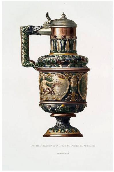 帕利希陶器 。16世紀晚期,法國藝術家Bernard Palissy創造了一種以寫實的手法與高超的工藝相結合的低溫陶器,他的作品將高浮雕的蛇、蛙、魚、蝦、海貝、昆蟲、水草等動植物作為裝飾,配以綠藍黃褐等低溫彩釉。作品大都為圓形,橢圓形盤子。三維的動物形體十分逼真,宛如一汪水池,頗具自然主義風格。