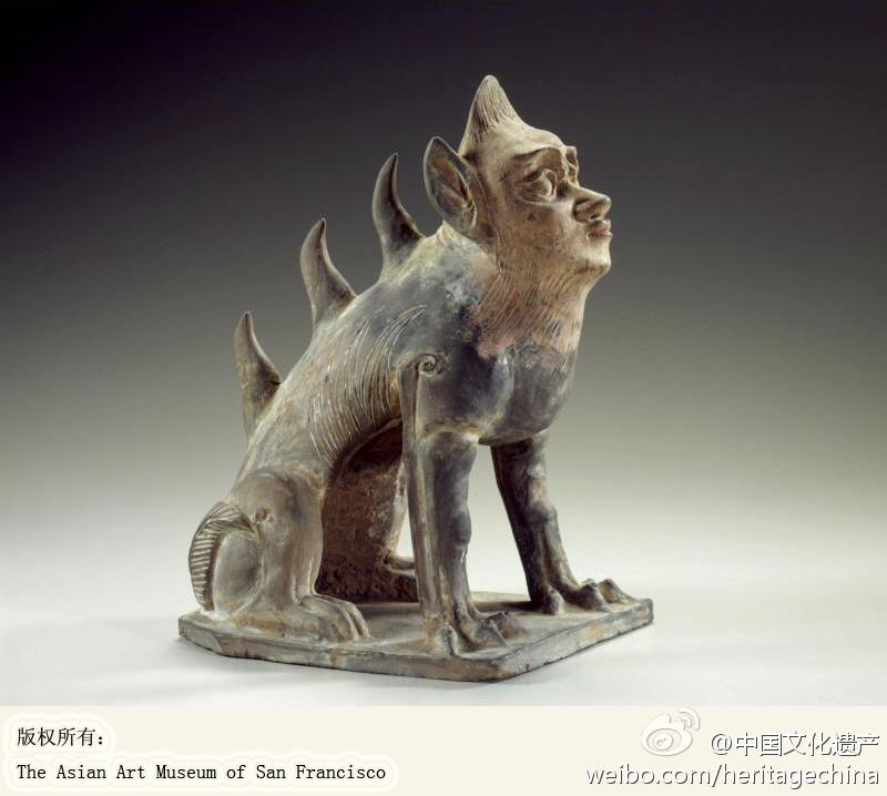 北魏人面镇墓兽,H. 25.4 cm x W. 13.0 cm x D. 19.0 cm,#海外流失中国文物#,旧金山亚洲艺术博物馆藏。 (800×718)