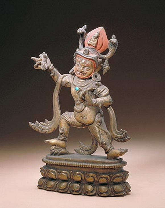 手持金刚立像 12-13世纪 西藏 高21.2cm 手持金刚是藏传佛教护法神。金刚右手上举持金 - 一网玩天下