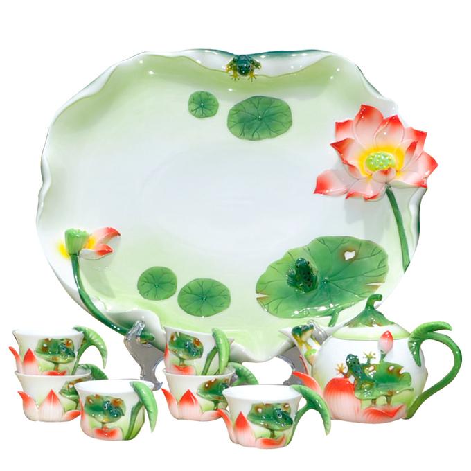 茶具 荷塘月色茶具 珐琅瓷
