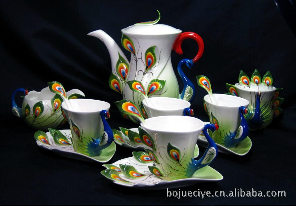 珐琅瓷咖啡具 孔雀咖啡杯