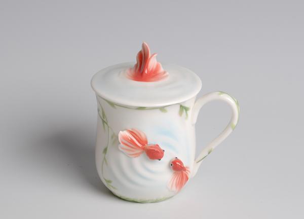 珐琅瓷 鲤鱼杯 茶杯 水杯