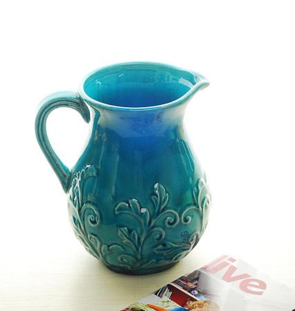 【图】地中海蓝色花壶花瓶厚重外雕花不漏水可盛放鲜花海浪家居摆设 - 美丽说