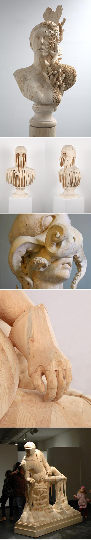 美国年轻艺术家Morgan Herrin的木雕作品。via:http://t.cn/zO6iutP