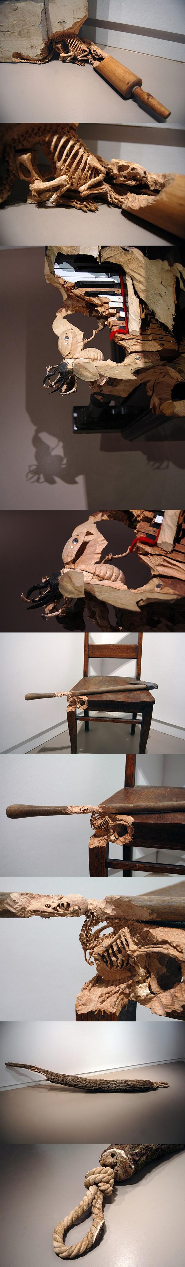 骨肉相连的木雕:来自艺术家Maskull Lasserre的木雕作品,和以往爱稀奇介绍的类似作品不一样的是,每一件作品都是取材自互不相干的一些平常小物,但是碉堡的木雕却让它们发生了关系~