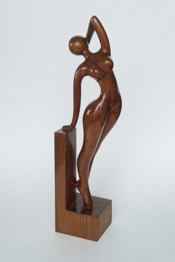 Nude woman wood sculpture AWAKENING #手工# #艺术# #木雕# #创意#