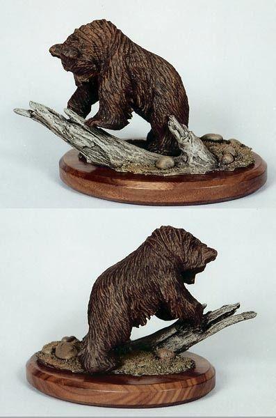 艺术雕塑,手工木雕,熊
