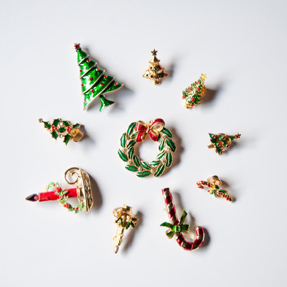 vintage 美国古董店 西洋圣诞系列系列 圣诞树 圣诞礼物复古 胸针