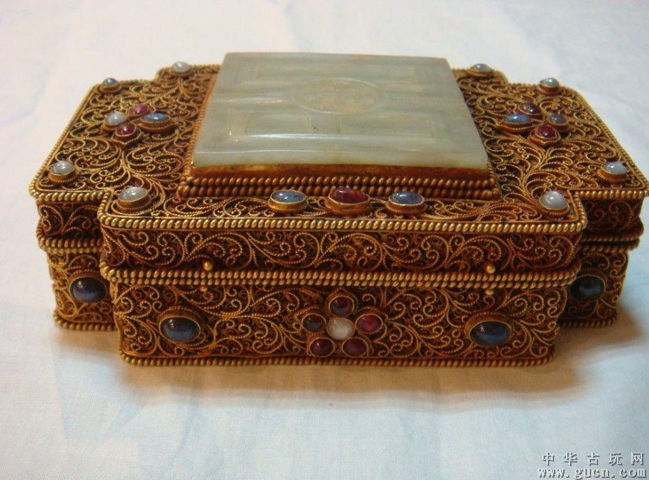 明代纯金嵌宝石粉盒  花丝镶嵌工艺品