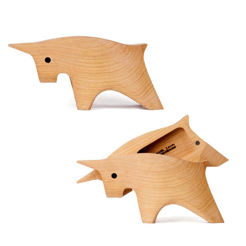 emo 美国Areaware创意工艺品摆件 DIY动物 榉木收纳盒 首饰盒
