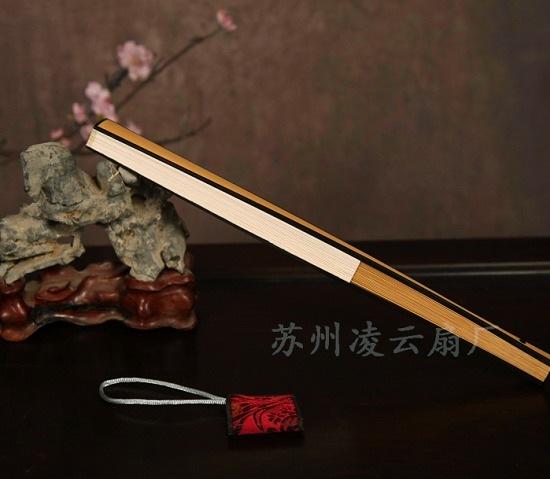 玉竹镶嵌红木折扇 - 盛风苏扇