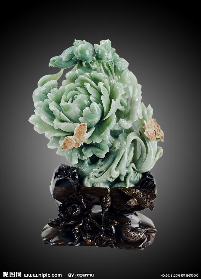 牡丹玉石雕塑摄影图