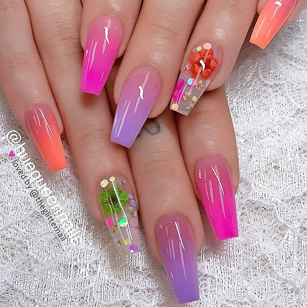 Colorful Ombre and Dry Flowers with Glitter on long Coffin Nails  Nail Artist:  Follow her for more gorgeous nail art designs Turn on post notification, if you don't want to miss any of my posts