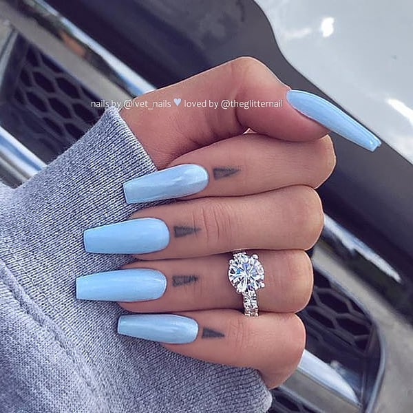 Pastel Light Blue on Coffin Nails  Nail Artist:  Follow her for more gorgeous nail art designs Turn on post notification, if you don't want to miss any of my posts
