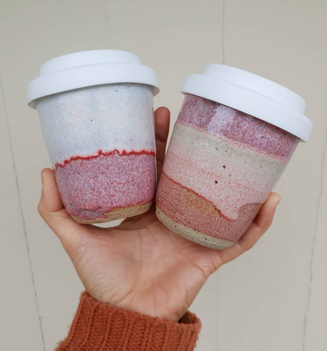 After something warm to wrap your cold hands around while out and about?I Just dropped these and more off reuseablecupwheelthrownstonewareceramicspotterymrsfisherspottery