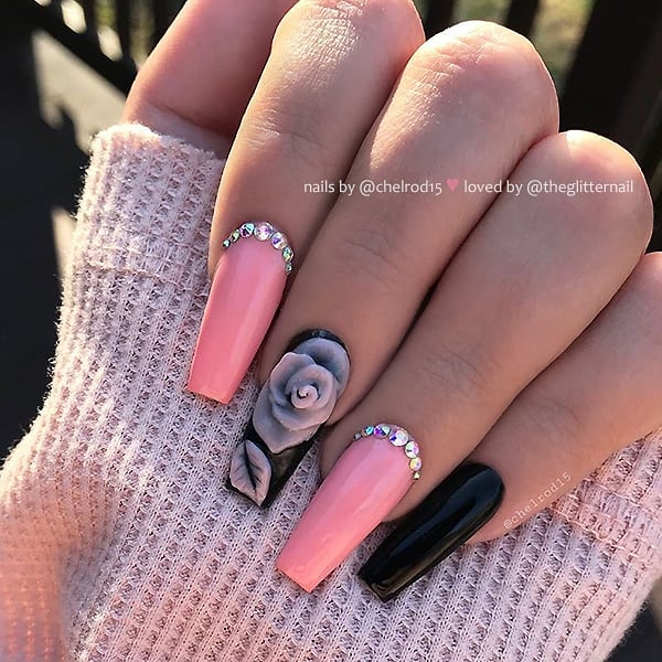 Pastel Salmon Pink with Crystals and Black with 3D-Rose on Coffin Nails  Nail Artist:  Follow her for more gorgeous nail art designs Turn on post notification, if you don't want to miss any of my posts