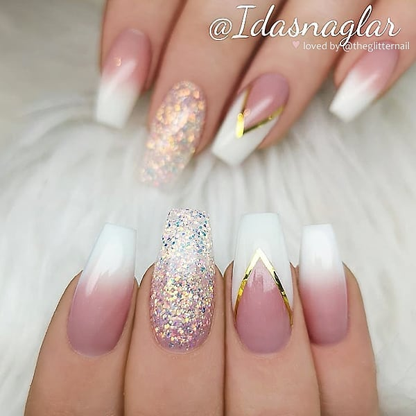 French Ombre, V-French and Glitter on Coffin Nails  Nail Artist:  Follow her for more gorgeous nail art designs Turn on post notification, if you don't want to miss any of my posts