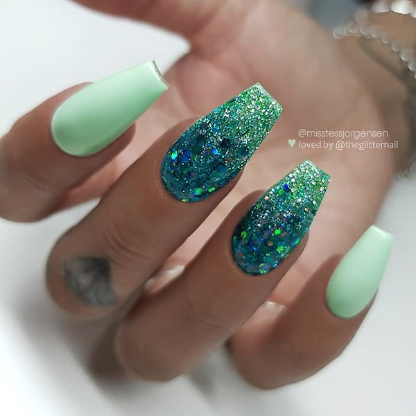 Mint with Ocean Green Glitter Ombre on long Coffin Nails  Nail Artist:  Follow her for more gorgeous nail art designs Turn on post notification, if you don't want to miss any of my posts