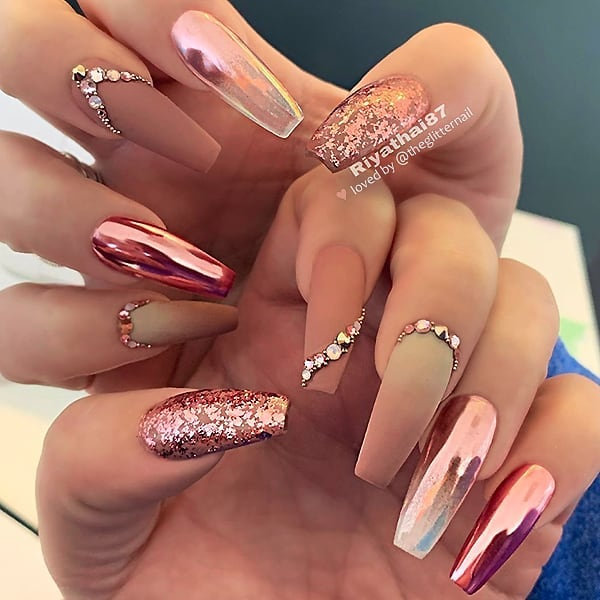 Matte Mauve-Brown and Beige, Chrome Effect and Crystals on long Coffin Nails  Nail Artist:  Follow her for more gorgeous nail art designs Turn on post notification, if you don't want to miss any of my posts
