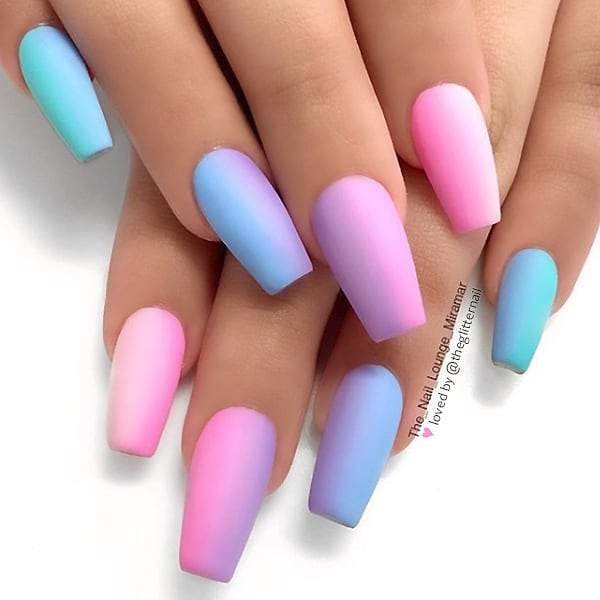 Matte Pastel Ombre on tapered Square Nails  Nail Artist:  Follow them for more gorgeous nail art designs Turn on post notification, if you don't want to miss any of my posts.