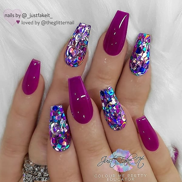 Deep Berry-Pink and Purple Glitters on Coffin Nails  Nail Artist:  Follow her for more gorgeous nail art designs Turn on post notification, if you don't want to miss any of my posts.