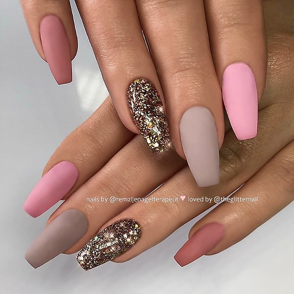 Matte Pink and Taupe with Bronze Glitter on Coffin Nails  Nail Artist:  Follow her for more gorgeous nail art designs Turn on post notification, if you don't want to miss any of my posts