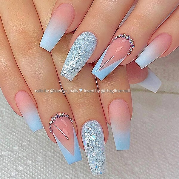Matte Sky Blue Ombre, V-French with Crystals and Glitter on Coffin Nails  Nail Artist:  Follow her for more gorgeous nail art designs Turn on post notification, if you don't want to miss any of my posts.