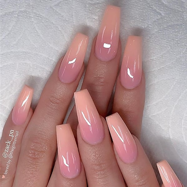 PeachPink Ombre on long Coffin Nails  Nail Artist:  Follow him for more gorgeous nail art designs! Turn on post notification, if you don't want to miss any of my posts!