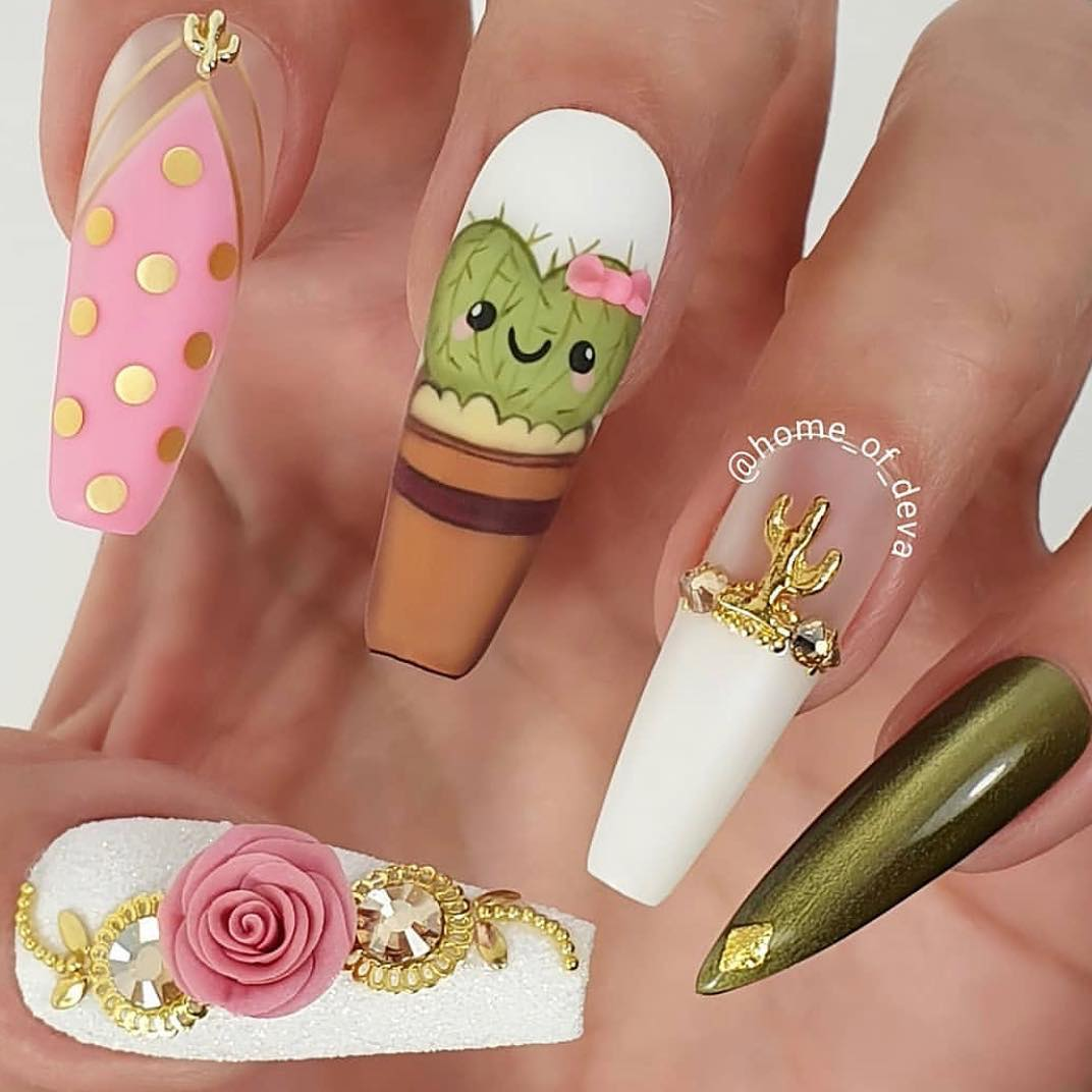 How cute are these cactus nails by Ugly Duckling Art Educator Are you going to be joining our dream team at this years 5k - A Marathon of Education? You dont want to miss this For more information go to www.uglyducklingnails.com or send an e-mail to 5K.uglyducklingnailsoftheday