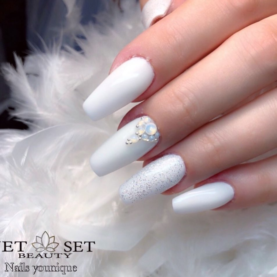 Frosted milky white intense  whitenails