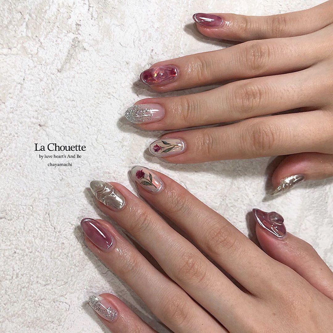 flower bordeaux  pink  gray(10art course + option)
