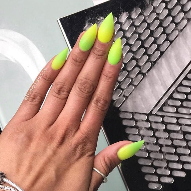 Gorgeous lemon lime ombre set ! by our amazing instructor ......  nailmagazine