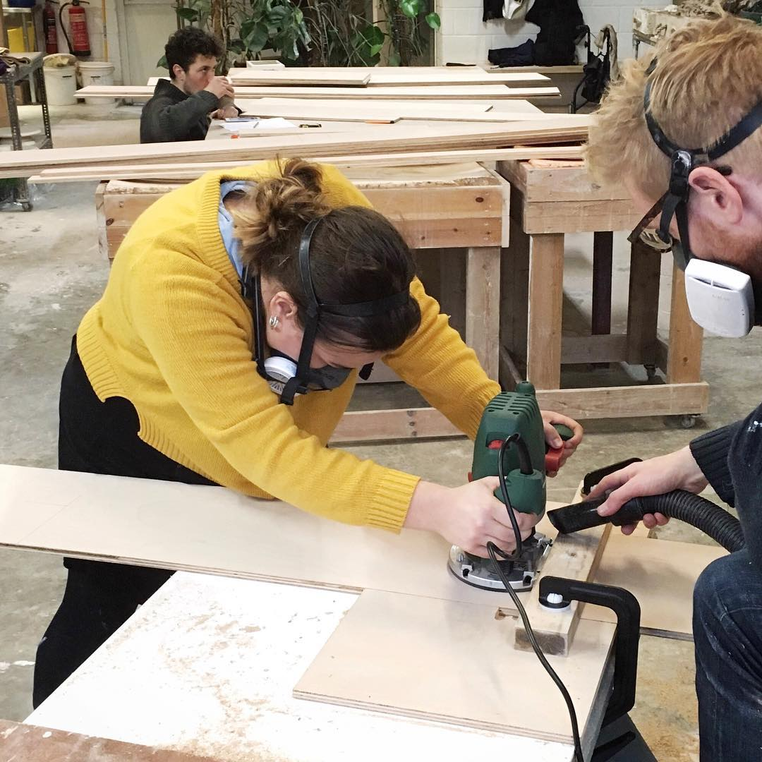 The shop build is fully underway! Some pretty serious woodworking took place yesterday  big thanks are due to for allowing us to use the studio as a workshop for the day...Wood is now sawn, sanded and being transformed into shelves this very moment. What a multitalented team we have!