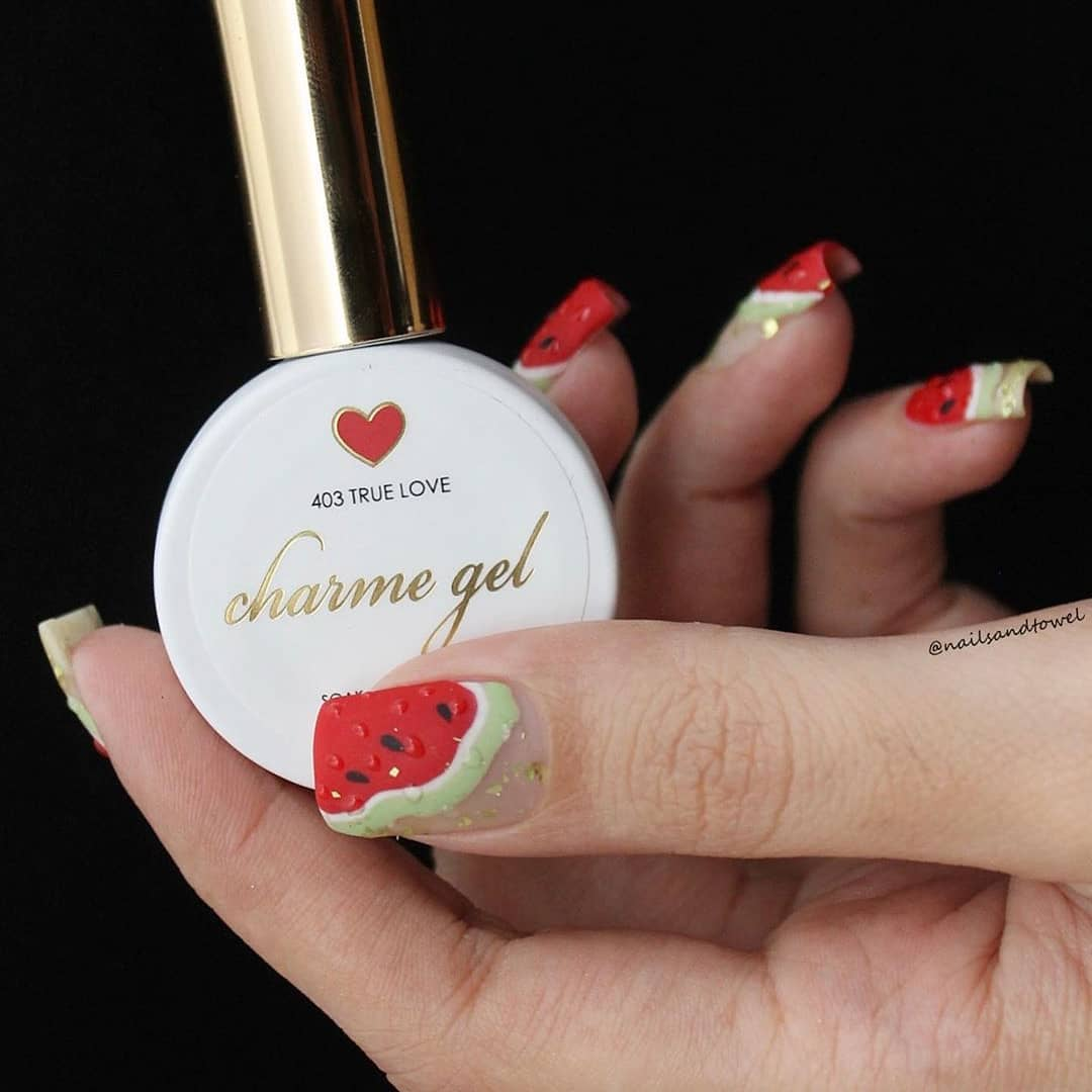 Perfect summer watermelon nails by Featured colors: