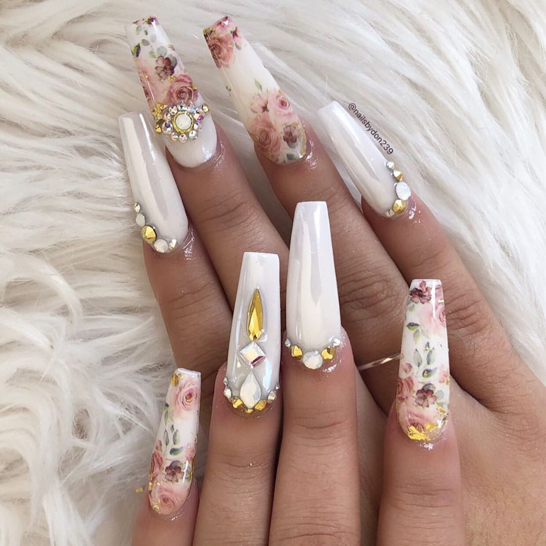 Aren't these perfect for a wedding? Nails by using our Magic White Chrome, Foil Transfer Gel, Floral Foils  Shop for the latest trends in nail art at DailyCharme.com  ..dailycharme