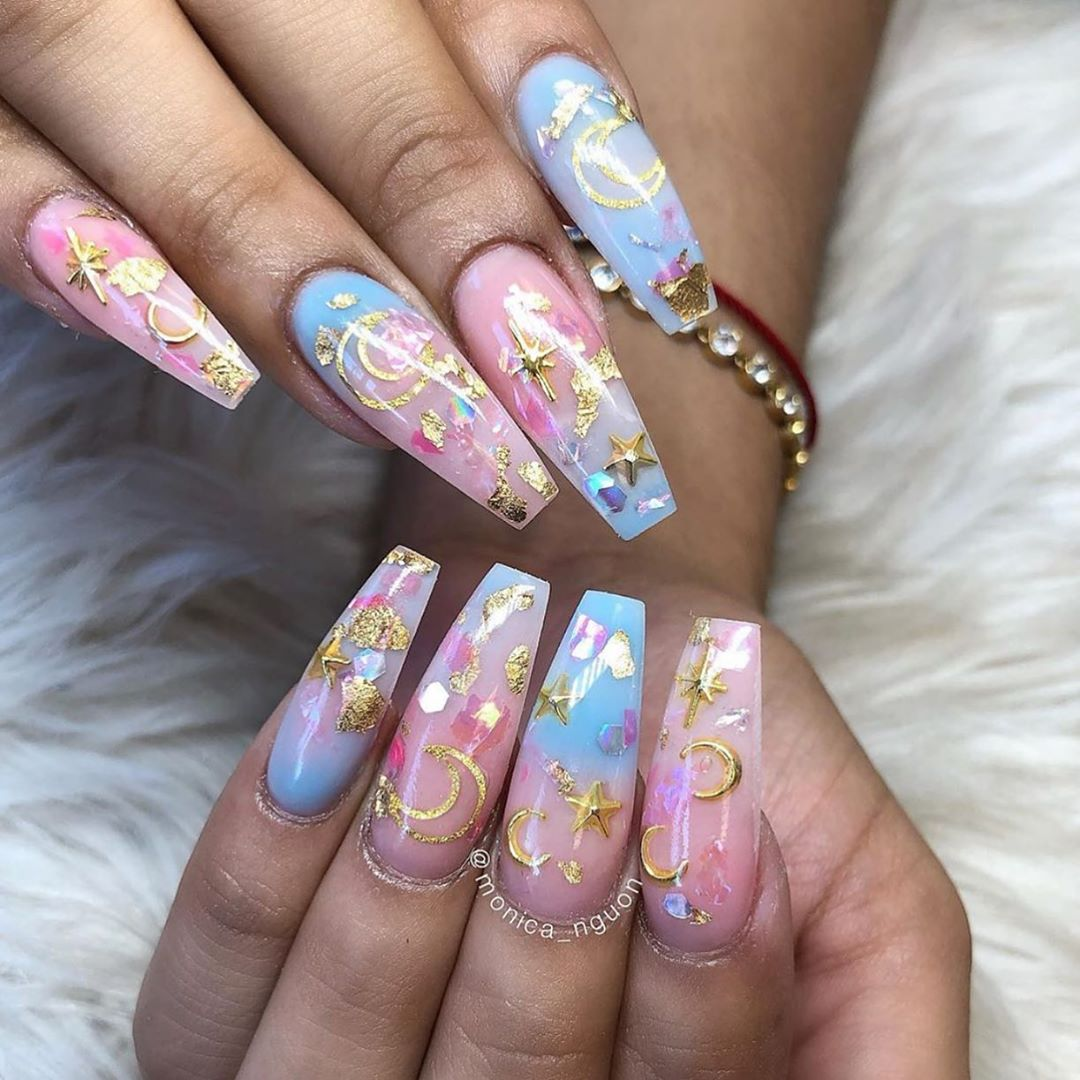 So in love with these Moons  Stars nails by  Shop for featured nail studs  frames at DailyCharme.com