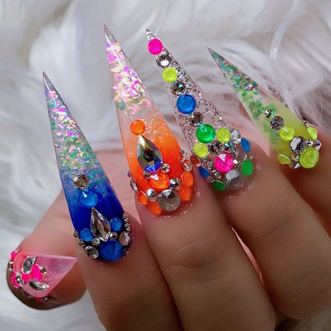 Love these colorful summer nails by  Shop for neon Swarovski crystals  Iridescent Flakes at DailyCharme.com  swarovskinails