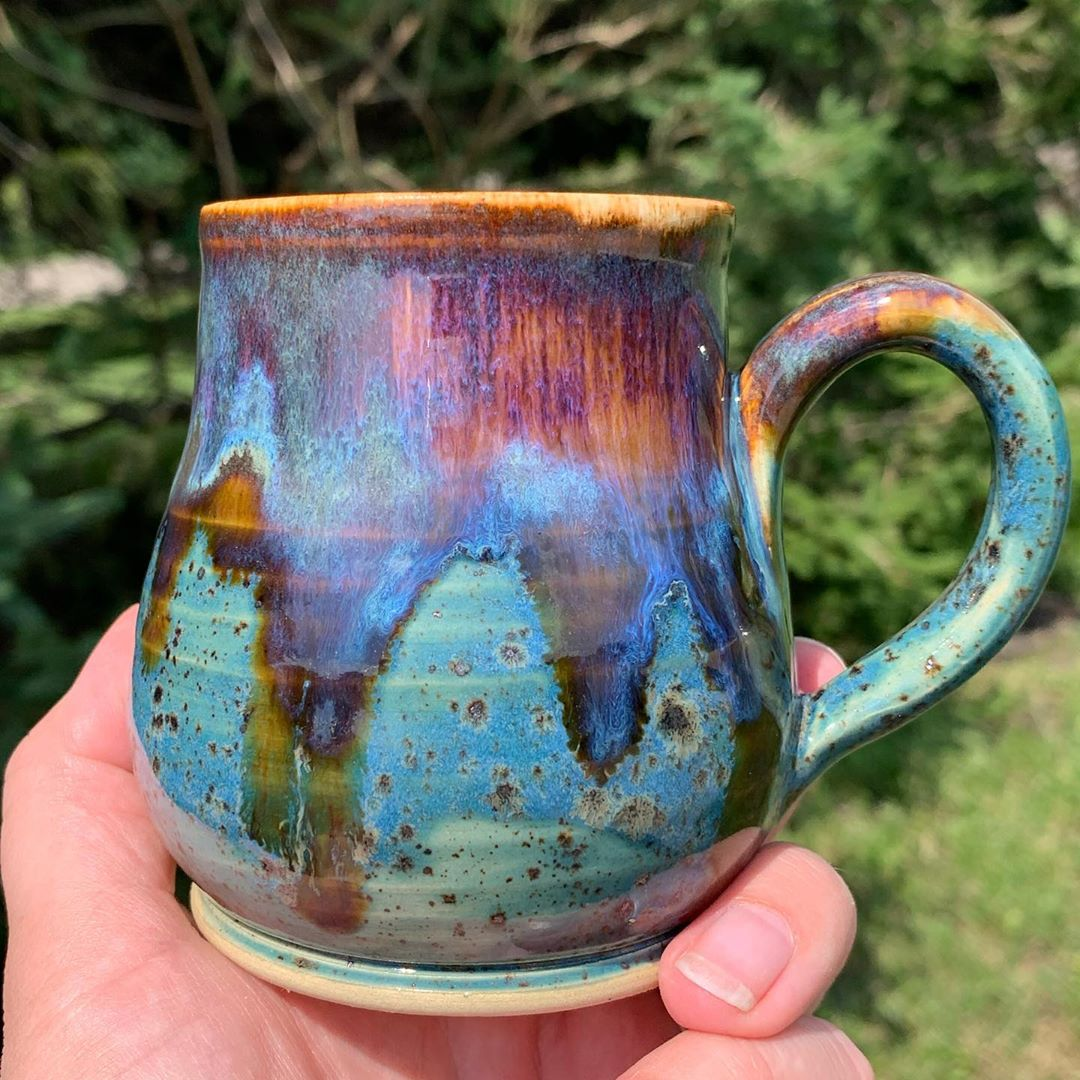 Went to lunch and the craft store to keep our minds off the cooling kiln!  Well mainly me!  The bridesmaids gifts are out and all I can say is wow!  This glaze combo which has been named wrecked, has become a favorite. It never disappoints and has a lot of subtle details . Although all the mugs are similar they are all different in there own amazing way!  alwaysabridesmaidneverabride