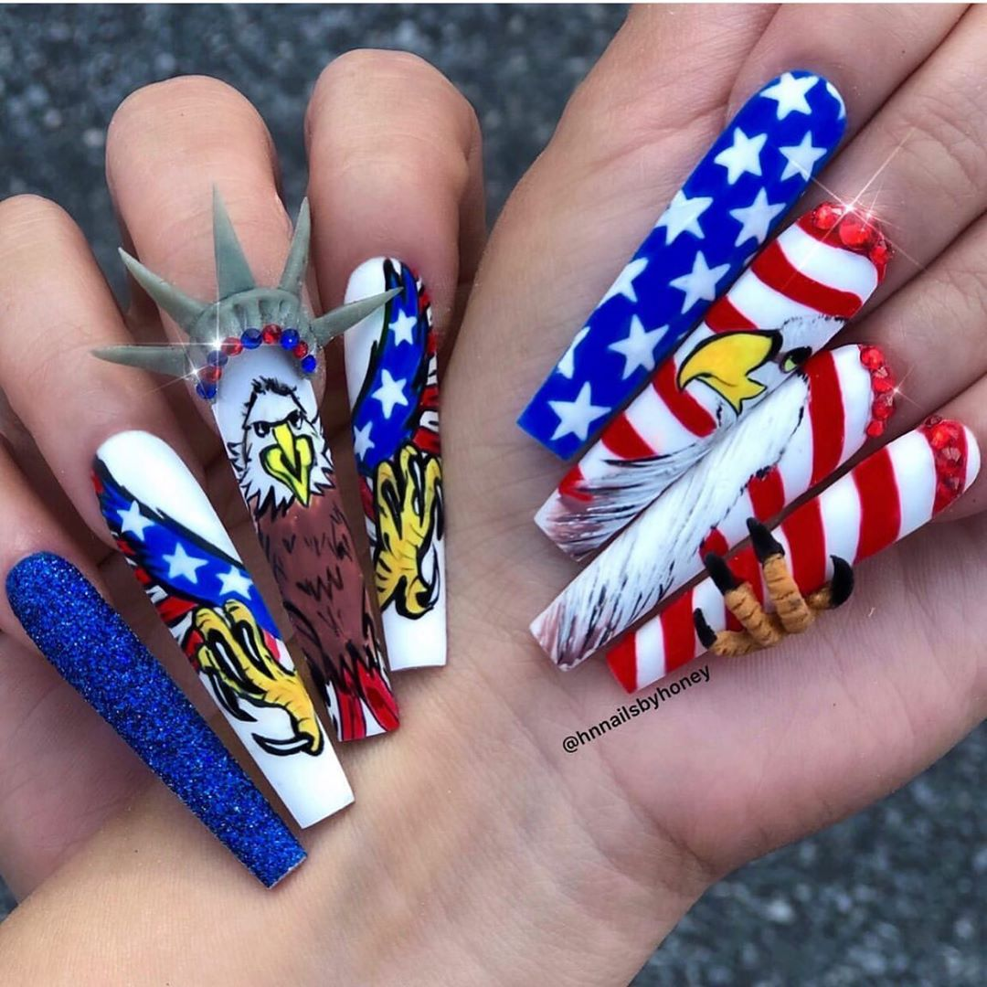 Independence Day   Tag for a repost : @hnnailsbyhoney