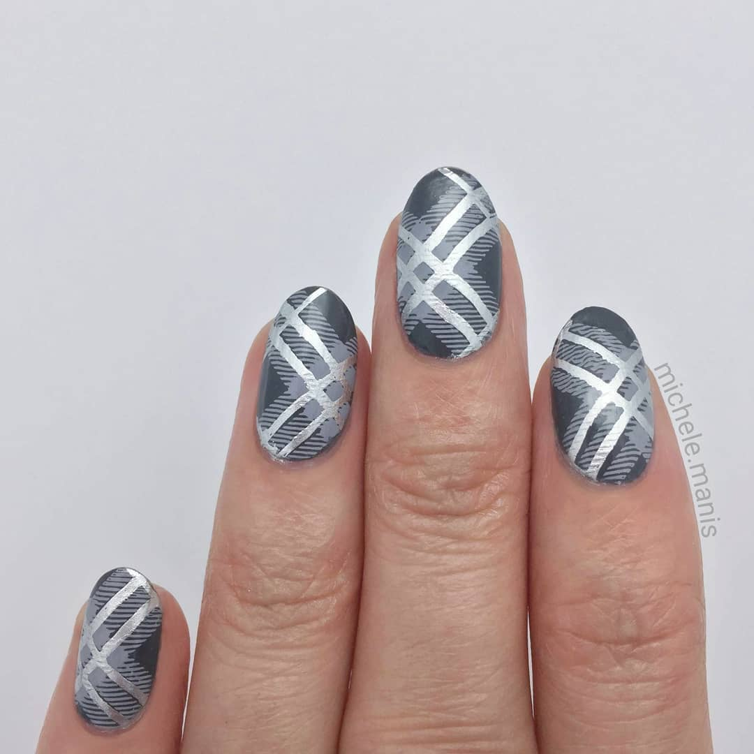 GRAY PLAID- Rock My World- Steal the Show stamping polish- Flock of Seagulls stamping polish- Pretty in Plaid stamping plate*For a free ebook guide on nail stamping supplies, just go to the link in my profile or bit.lynailstampingguidenailartjunkienailartdiary
