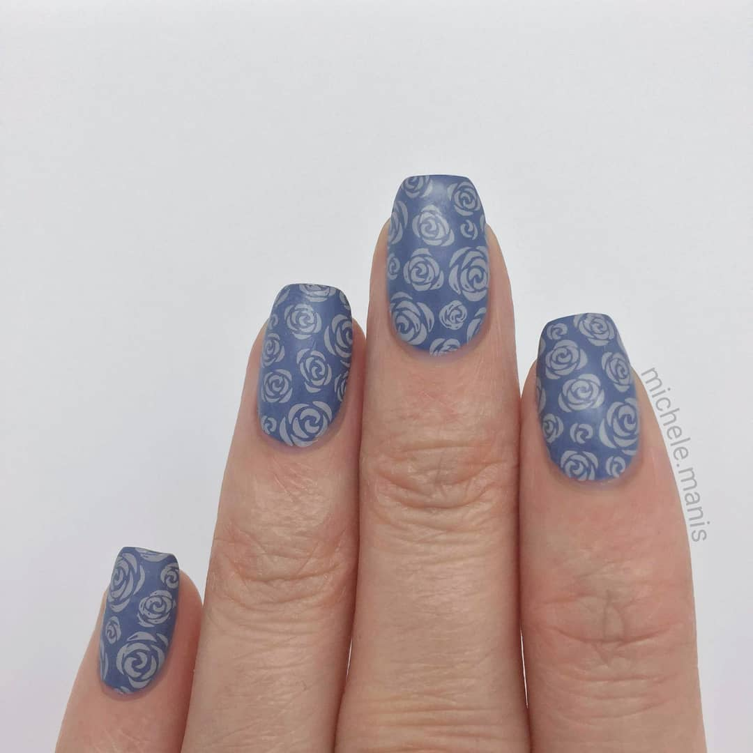 BLUE ROSES- Jeans On- Flock of Seagulls stamping polish- XL-022*For a free ebook guide on nail stamping supplies, just go to the link in my profile or bit.lynailstampingguidenailartchallenge